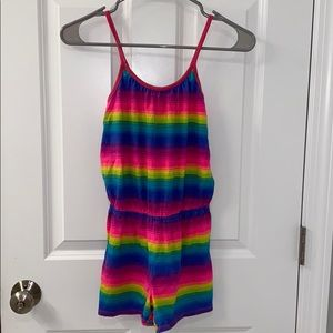 PLACE rainbow striped shorts romper 10/12 large